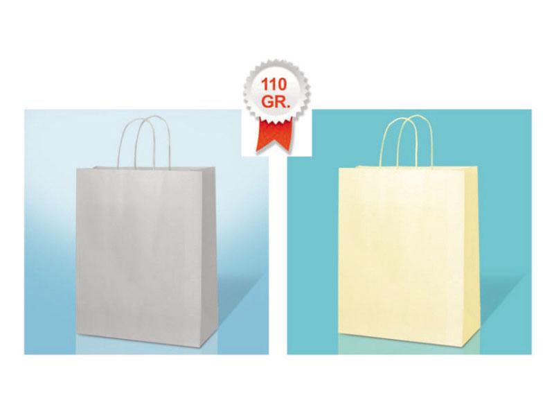 buste shopper in carta fondo pieno su kraft bianco manico cordino