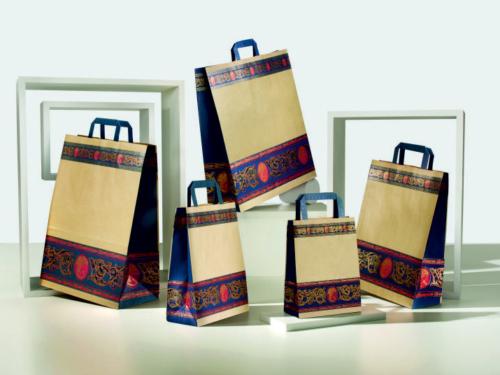 shopper personalizzate in carta fantasia sealing avana manico piatto
