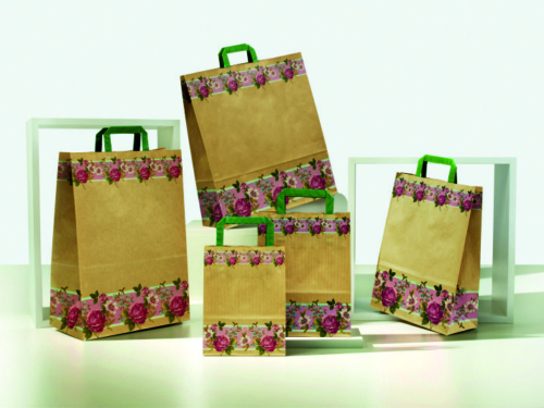 buste-shopper-carta-sealing-avana-maniglia-piatta verde-fascia fiorita-fantasia