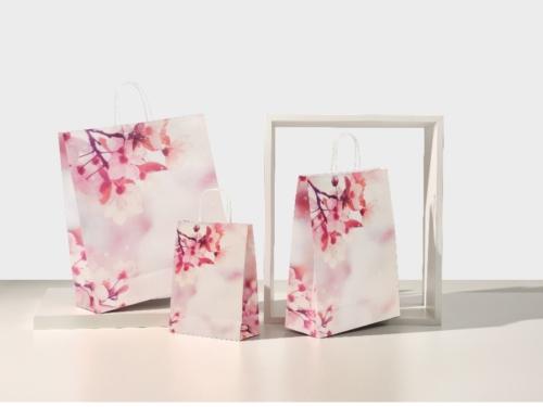 buste-shopper-carta-kraft-bianco-maniglia-cordino-ritorta-torciglione-fiori di ciliegio