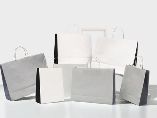 buste-carta-shopper-bicolore-duo-italy-maniglia-ritorta-maniglia-colorata-in tinta-bianco nero-grigio chiaro-grigio scuro-linea bicolore